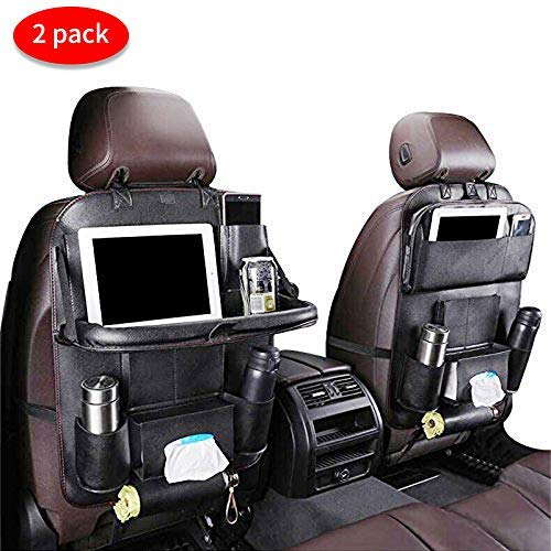 Car Backseat Organizer with Foldable Table Tray, PU Leather Car Organisers for Babies Toys Storage with Foldable Dining Table Holder Pocket for Baby and Kids (2 packs)
