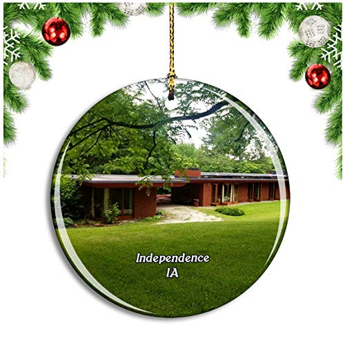 Weekino Independence Cedar Rock State Park Iowa USA Christmas Ornament Xmas Tree Decoration Hanging Pendant Travel Souvenir Collection Double Sided Porcelain 2.85 Inch