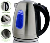 Ovente Electric Hot Water Kettle 1.7 Liter Stainless Steel with LED Indicator Light, 1100 Watt Power Fast Heating Element, BPA-Free Boil Dry Protection & Auto Shut-off, for Coffee & Tea, Silver KS96S