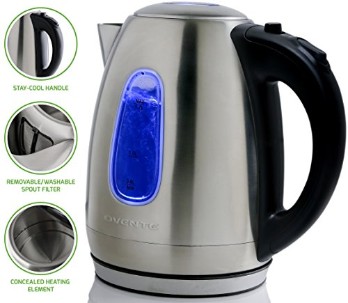 Ovente Electric Kettle 1.7 Liter Stainless Steel with Concealed Heating Element and Boil Dry Protection, 1100 Watt Fast Heating, LED Indicator Light, Perfect for Coffee, Tea Silver (KS96S)