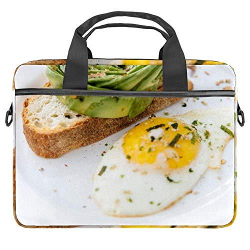 TIZORAX Laptop-Tasche Ei Brot Frühstück Notebook Sleeve mit Griff 38,1 - 39,1 cm Tragetasche Schultertasche Aktentasche