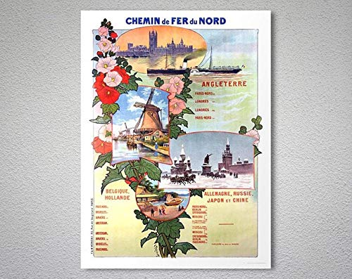 Chemin De Fer Du Nord, Angleterre Vintage Travel Poster - Poster Paper, Sticker Or Canvas Print/Gift Idea Poster No Frame Board for Office Decor, Best Gift for Family and Your Fr