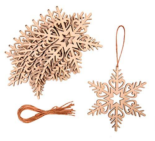 ProArts 10 Stück Weihnachtsschmuck Holz, Ornamente Holz Schneeflocke, Dekorationen Hängende, Schneeflocken Deko - Deko Weihnachten mit 10 Stück String (12 x 10 cm)