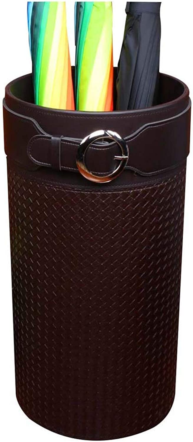 Multifunctional Simple Fashion Leather Umbrella Stand Home Hotel Large Capacity Storage Bucket Size25x25x50 Round
