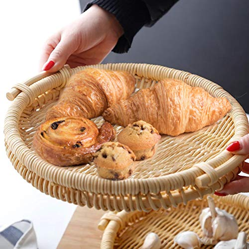 Round Natural Rattan Bread Basket for Serving, Woven Trays with Side Handles for Fruit Food (11inches)