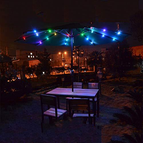Parasol YXLZ parasol tafelscherm, op zonne-energie werkende 24-LED patio paraplu, 8-rib slinger-markt-tafelscherm, geschikt voor buitenshuis of tuindekbed, 4 verschillende kleuren lichten Red Kleur licht.