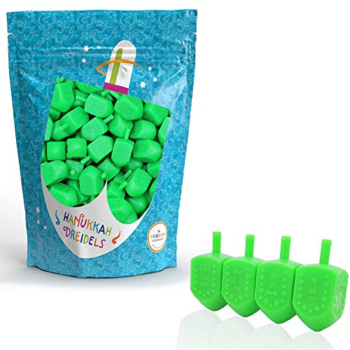 Hanukkah Dreidels Multi-Color Plastic Chanukah Draydels with English Transliteration, Includes Dreidel Game Instructions on Bag (Green, 30-Pack)