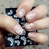 Zeagro 30 Hojas de Pegatinas 3D para decoración de uñas, diseño Floral, Color Blanco