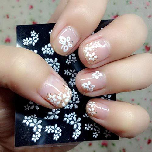 Zeagro 30 Blatt Blumenmuster Weiß 3D Nail Art Aufkleber Maniküre Dekoration Schöne Mode Zubehör