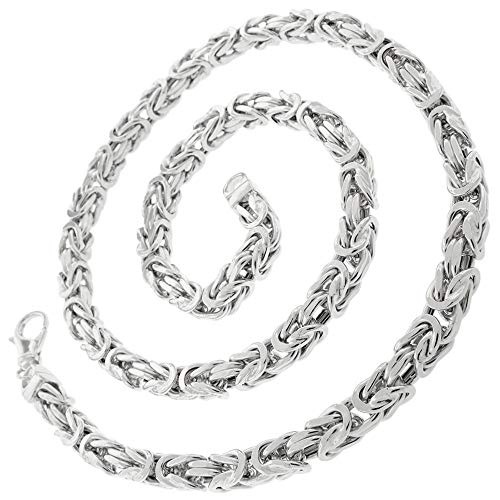 Valone Königskette Silber Herren I 55cm 2,5mm I echtes 925 Silber I Byzantinische Halskette Herren ohne Anhänger I rhodiniert I vierkant