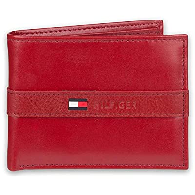 Tommy Hilfiger Men's Leather Wallet – Slim Bifold with 6 Credit Card Pockets and Removable Id Window, Red, One Size