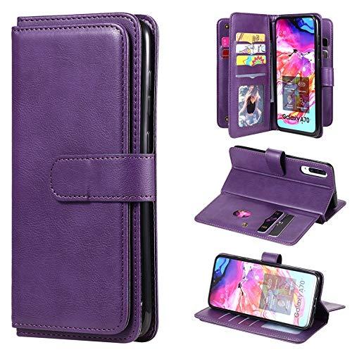 Ryrybh2848 Funda para teléfono inteligente Multifuncional Folio Interchange Magnetable Funda TPU para Samsung Galaxy A70, [10 tragamonedas de soporte de tarjeta] Bounty PU Cartera de cuero, para Samsu
