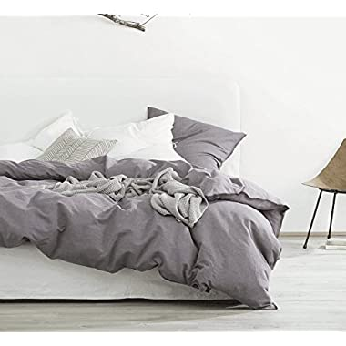 Eikei Washed Cotton Chambray Duvet Cover Solid Color Casual Modern Style Bedding Set Relaxed Soft Feel Natural Wrinkled Look (King, Dusty Grape)