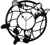TJIAXU Handball Disque Vinyle Rétro Horloge Murale Cadeau Unique Nouvel an De Noël Cadeau D'Personnalité Créative Conception De La Maison Décoration Murale-sans LED