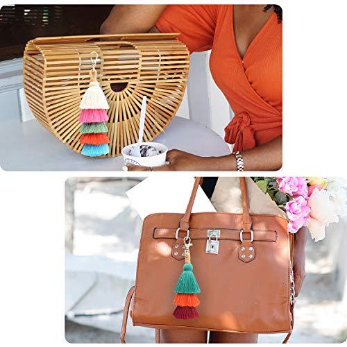 Colorful Boho Pom Pom Tassel Bag Charm Key Chain (E style)