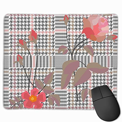 YGVDSE Mouse Pad Elegant Print Embroidered Roses 25 X 30 cm Soft Cloth Gaming Mouse Pad with Smooth Non Slip Base