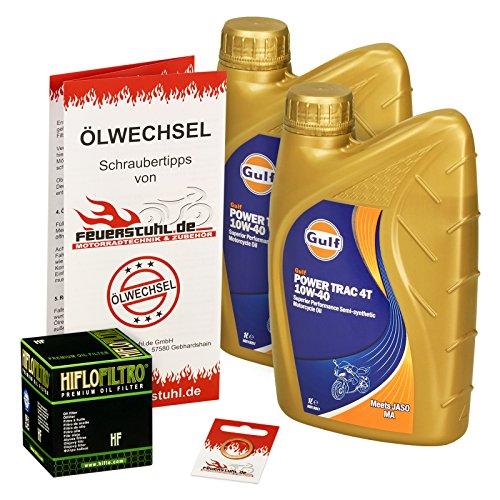 Gulf 10W-40 Öl + HiFlo Ölfilter für Suzuki Burgman 400 /Z (AN 400), 07-15, CG - Ölwechselset inkl. Motoröl, Filter, Dichtring