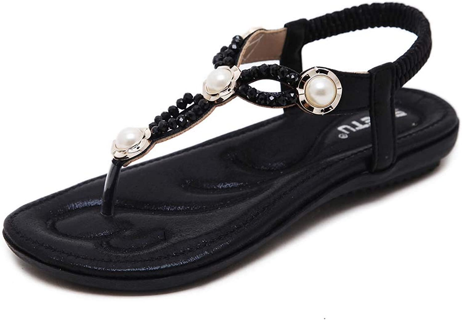 Women Jeweled Flat Sandals shoes, Bohemian Beaded T Strap Thong shoes Flip Flop shoes