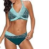 CheChury Conjuntos De Bikini de Mujer con Relleno Sujetador Bikini Lunares Vintage Talle Alto Traje De Baño de Dos Piezas de Mujer Sexy Bikini Traje de baño para Verano