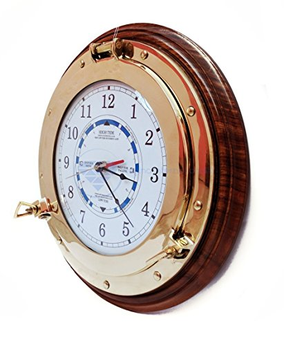 Nagina International Nautical Time Gezeitenuhr mit Bullauge und Holzsockel – Kapitän, maritim, Strand, Heimdekor, Geschenk, holz, Weiß, Blau, Schwarz, Rot, 25,40 cm