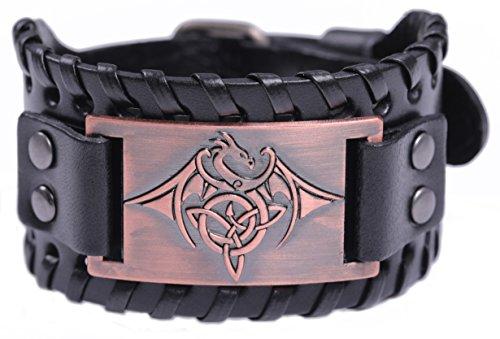 TEAMER Celtic Trinity Knot Triquetra Bracelet Wing Dragon Leather Bracelet Gift Jewelry for Men (Antique Copper,Black)