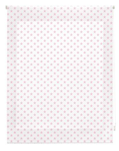 Blindecor S-Stars Estor Enrollable Digital Translúcido, Tela, Blanco con Estrellas Rosa, 130 x 180 cm