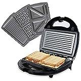 OZAVO 3 en 1 Sandwich Grill, Sandwitch Toaster, Croque Gaufre, Appareil à Croque-monsieur en Acier Inoxydable, 750W, Noir