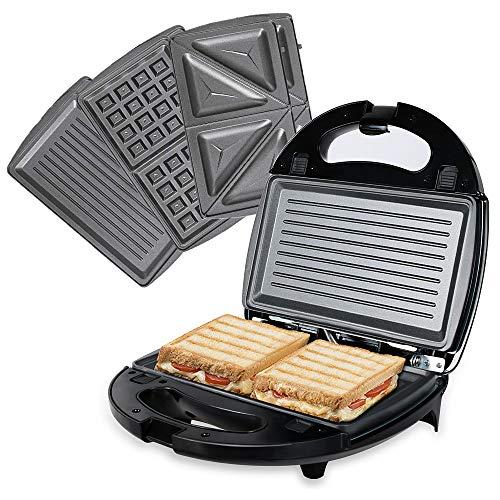 OZAVO Sandwichera 3 en 1, Gofreras eléctricas Parrilla para gofrera bocadillos hamburguesa y Panini Grill - 3 Extraíble placas, 750W