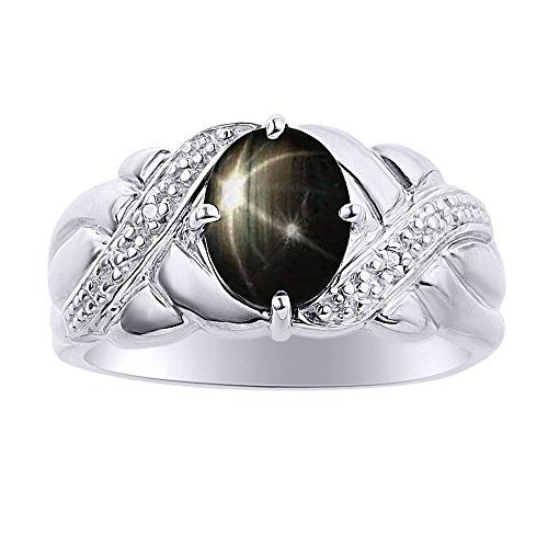 Anillo de plata de ley con diseño de estrella de zafiro negro y diamante