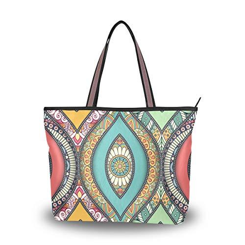 Handtaschen Große Geldbörse Einkaufen Leichte Gurt für Frauen Mädchen Damen Student Einkaufstasche Blume Nahtlose Muster Floral Fliese Umhängetaschen