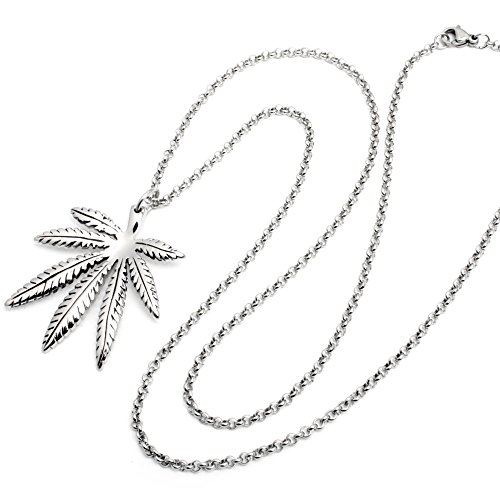 Hochwertiger Edelstahl Anhänger Hanfblatt Marihuana Cannabis Weed Dope silber + 60cm Halskette