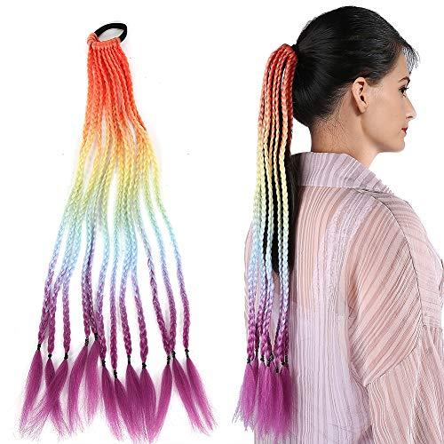 Élastiques à cheveux, Élastiques Élastiques, Perruques de Cheveux Synthétiques Cosplay Longue Couleur Queue de Cheval Dreadlocks Perruque avec Élastiques Bandes Filles Extensions de Cheveux