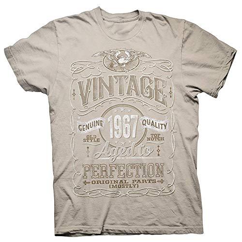 ingshihuainingxianchuangju Camisa 52a Regalo de cumpleaños - Vintage 1967 Envejecido a la perfección - Deteriorado, Medium, Arena-004