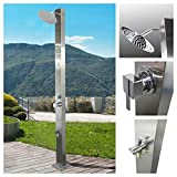 No Worries Products Milan Plain 316 Marine Grade Stainless Steel Massage Outdoor Shower Panel Swimming Pool Backyard Hot & Cold Rainfall Wall Mounted or Freestanding Outside Shower