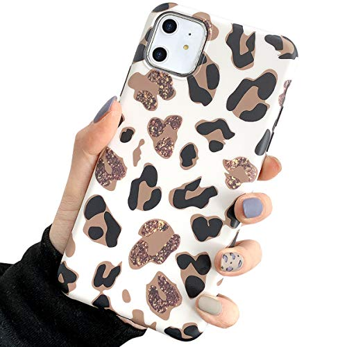 Leopard Case for New iPhone 11,GLBYDLO Cute Luxury Fashion Case for Girls Women Slim Thin Soft TPU Silicone Protective Phone Case Cover for iPhone 11 6.1 inch -White Leopard Pattern