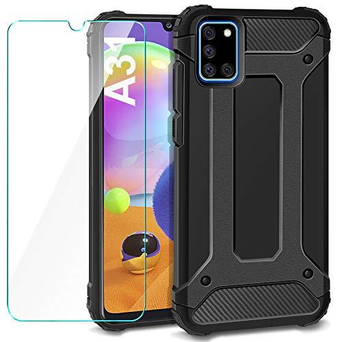 AROYI Cover Compatibile per Samsung Galaxy A31 con Pellicola Protettiva in Vetro Temperato, Custodia Robusto Silicone TPU e PC Cassa Ibrido Doppio Strato Protective Case, Nero