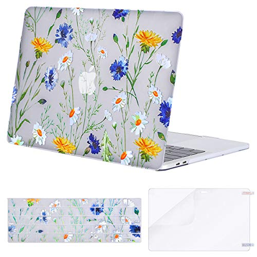 MOSISO MacBook Pro 13 inch Case 2019 2018 2017 2016 Release A2159 A1989 A1706 A1708, Plastic Pattern Hard Shell Case&Keyboard Cover&Screen Protector Compatible with MacBook Pro 13, Clear Base Daisy