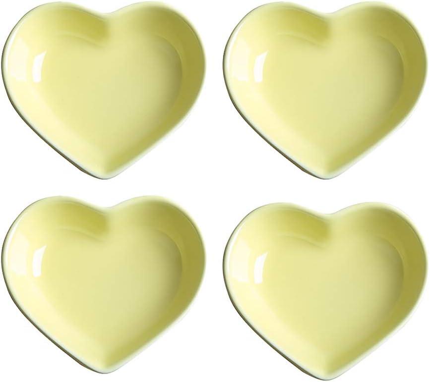 Mozacona 4pcs Max 84% New Free Shipping OFF Ceramic Heart Shape Seasoning Dipping Dishes Appet