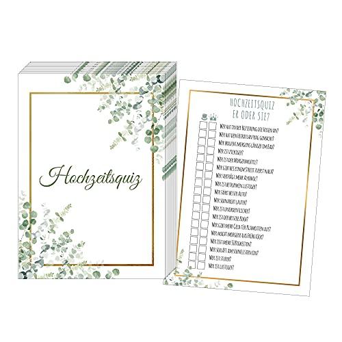 50 Karten Hochzeitsquiz, Hochzeitsspiel Braut oder Bräutigam, Hochzeitsspiele für Gäste, Hochzeitsspiel Brautpaar, Hochzeitsgeschenk (Gold Grün)