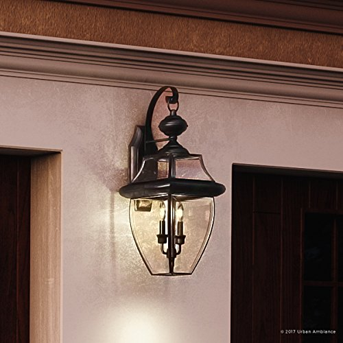 "Luxury Colonial Outdoor Wall Light, Large Size: 20""H x 10.5""W, with Tudor Style Elements, Versatile Design, High-End Black Silk Finish and Beveled Glass, UQL1144 by Urban Ambiance"