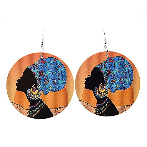 XAOQW YD & Ydbz África Sexy Chicas patrón Pendientes de Madera para Las Mujeres Estilo Punk Gran Gota Redonda Pendientes Cadena joyería Femenina decoración-estilo3