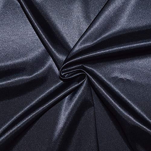 Tela de satén de 3 metros de tela de satén, tejido de satén, poliéster y elastano, excelente calidad, para vestido, falda o túnica (marina)