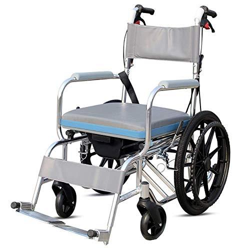 LUO Rollstühle, behindertengerechter Aluminiumlegierungsrollstuhl, Stuhlklapplicht mit Toilettensitzrollstuhl, Old Man Trolley Rollstuhl (Riesenrad)