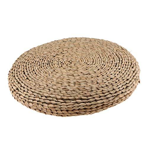Cojín de meditación de cojín zafu tejida de paja hecho a mano de alta calidad, alfombra de Yoga trenzado redondo con de la Ouate de seda