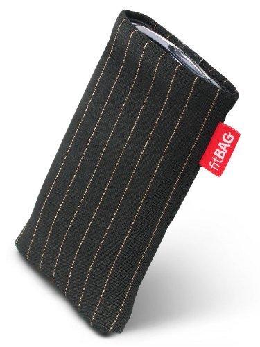 fitBAG Twist Schwarz Handytasche Tasche aus Nadelstreifen-Stoff mit Microfaserinnenfutter für O2 Xda Orbit 2