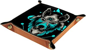 Cool Animal Wolf Head Valet Tray Storage Organizer Box Coin Tray Key Tray Nightstand Desk Microfiber Leather Pouch,16x16cm
