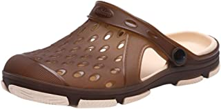 Mosunx Athletic Men Slip On Clog Boys Summer Ultra Lightweight Breathable Flat Hollow Sandals Slipper with Adjustable Strap for Teen Boys College Students Adults