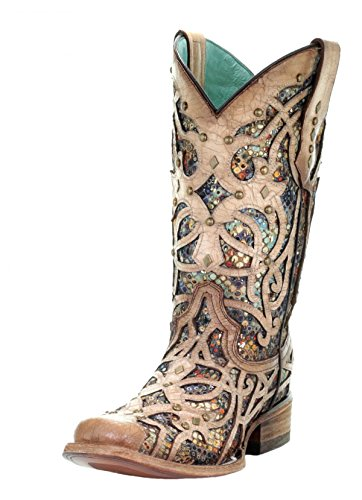 CORRAL C3405 Bone Multicolor Inlay and Studs Square Toe Boots (11) Beige