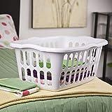 Sterilite 12459412 1.5 Bushel/53 Liter Rectangular Laundry Basket, White & Aqua Chrome, Assorted, 12-Pack