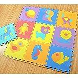 Keptei 10 Stück/ Pack Krabbelmatte Baby Spielteppich Spielmatte Ungiftig Geruchlos Eva-Schaumstoff Lernteppich Kinder Spielzeug 30 x 30cm Pro Stück (Tier) -